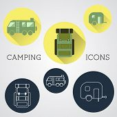 Set Of Outdoor Adventure Icons, Badges And Campsite Logo Emblems. Summer 2015 Stickers.