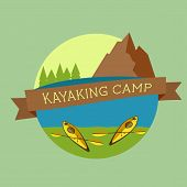 Kayaking Camp Logo. Expedition Label And Sticker. Unusual Design. Summer Outdoor Adventures. Colorfu