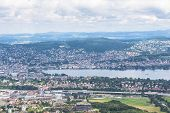 Panorama View Of Zurich City And Lake On  Uetliberg