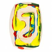 Colorful Handmade Of White Clay Letter J