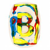 Colorful Handmade Of White Clay Letter B