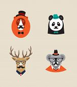 Hipster Animals set of vector icons. Lion, panda , deer, koala