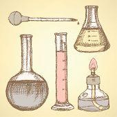 Sketch Scientific Equipment In Vintage Style