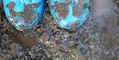 image of stomp  - child playing in a muddy puddle with blue wellie boots on  - JPG