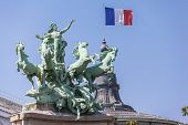 French Flag And Sculpture On Top Of  Grand Palais