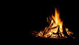 foto of mountain-ash  - Night campfire with available space at left side - JPG
