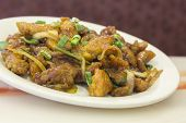 picture of scallion  - Dining out restaurant Teriyaki chicken with fresh scallions glistens with delicious perfection - JPG