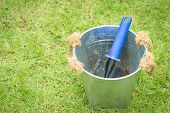 stock photo of spade  - spoon spade shovel and bucketgardening tools or agriculture tools - JPG