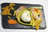 picture of saffron  - Poached egg with saffron risotto and vegetables - JPG