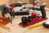 picture of carpenter  - Woodworking tools on a carpenter - JPG