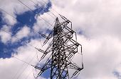 stock photo of voltage  - High Voltage Electric Transmission Tower Energy Pylon - JPG
