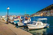 image of greek-island  - Small boats in Greek port on Island of Kalymnos - JPG