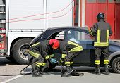 pic of firehouse  - practice of firefighters in the Firehouse and simulation of traffic accident - JPG