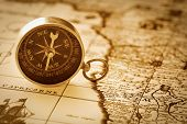 stock photo of decoupage  - Compass on vintage map - JPG