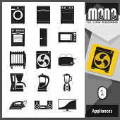 stock photo of monochromatic  - Flat monochromatic icons of home appliances - JPG