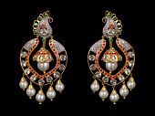 image of diamond  - Pair of diamonds and pearls earrings with many diamonds isolated over black background - JPG