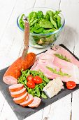 foto of charcuterie  - the charcuterie plate with salad and tomatoes - JPG
