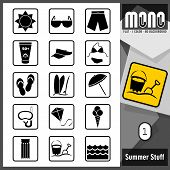 stock photo of monochromatic  - Summer and beach related flat monochromatic icons - JPG