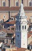 picture of mary  - White bell tower of Church of St Mary in VENICE in Italy - JPG