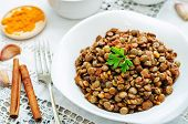 picture of cinnamon  - spicy curry cinnamon green lentils on a white background - JPG