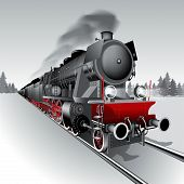 stock photo of locomotive  - Steam engine locomotive train - JPG