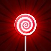 picture of lollipop  - Lollipop Candy on Red Background - JPG