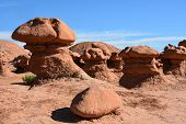 stock photo of hoodoo  - Goblin Valley was originally named Mushroom Valley after the shape of the hoodoos found there - JPG