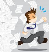 foto of running-late  - Cartoon vector of running office worker from work - JPG