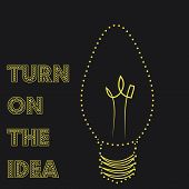 pic of lightbulb  - Isolated lightbulb on a black background with text - JPG