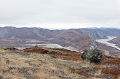 foto of arctic landscape  - Arctic landscape in Greenland with mountains and brown vegetation in autumn - JPG