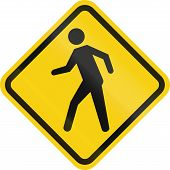 stock photo of pedestrian crossing  - Colombian road warning sign  - JPG