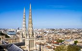 stock photo of bordeaux  - cityscape of Bordeaux France with the tower of the St - JPG
