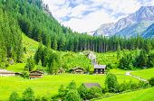 Постер, плакат: Green meadows alpine cottages and mountain peaks