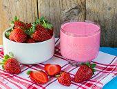 foto of fruit shake  - Smoothies with yogurt and strawberries - JPG