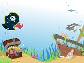 stock photo of pirate  - Background Illustration of a Sunken Pirate Ship - JPG