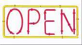 Neon Open Sign Over White
