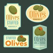 stock photo of olive shaped  - Ripe Olives vintage labels - JPG