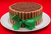 picture of dessert plate  - Chocolate cake with green ribbon - JPG