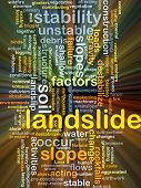 foto of landslide  - Background concept wordcloud illustration of landslide glowing light - JPG