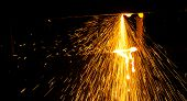 picture of oxygen  - the mixture of oxygen and acetylene flame cutting iron - JPG
