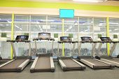 foto of treadmill  - image of treadmills in a fitness hall - JPG