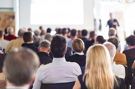 stock photo of seminar  - Speaker Giving a Talk at Business Meeting - JPG