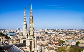 picture of bordeaux  - cityscape of Bordeaux France with the tower of the St - JPG