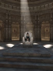 image of gnome  - Fantasy illustration of the King of the Gnomes sitting on his throne in the great hall - JPG