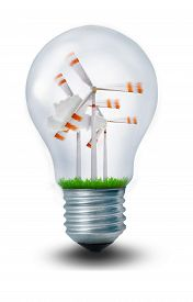 image of windmills  - Three windmills in a lightbulb symbolizing the future of renewable energy - JPG