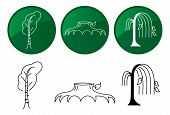 Trees. Vector Icons Set.