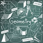 Постер, плакат: Geometry Math Theory And Mathematical Formula Chalk Doodle Handwriting Icon In Blackboard Background