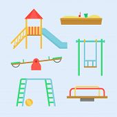 Постер, плакат: Playground Equipment Vector Set