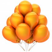 Orange helium balloons. Hot emotions
