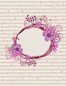 Floral Pink Oval Frame Design.eps